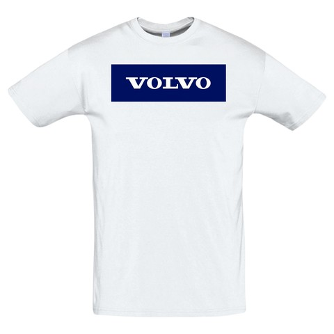 Футболка с принтом Вольво (VOLVO) белая