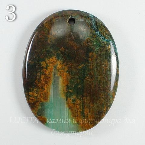 Подвеска Опал, цвет - коричнево-зеленый (№3 (44х34 мм))