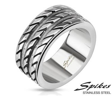 R-Q8073 Мужское широкое кольцо с насечками, ювелирная сталь