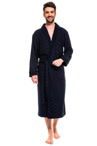 Облегченный бамбуковый халат для мужчин 420 синий PÊCHE MONNAIE