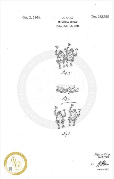 Редкая коллекционная серебряная брошь «Лягушки» от Coro