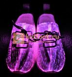 Светящиеся кроссовки с USB зарядкой на шнурках, цвет белый, светится верх. Изображение 8 из 23.