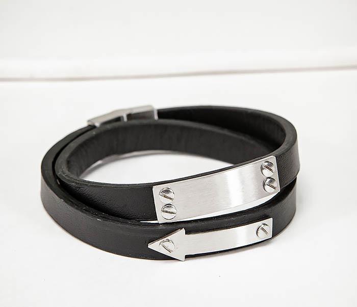 Кожаный браслет пластиной для гравировки двойной мужской браслет из кожи черного цвета