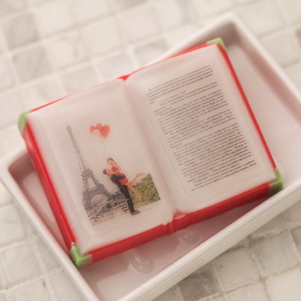 Мыло в форме раскрытой книги. Ручная работа