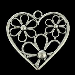 Подвеска металлическая Цветочное сердечко 2,8х2,8 см, 1 шт.