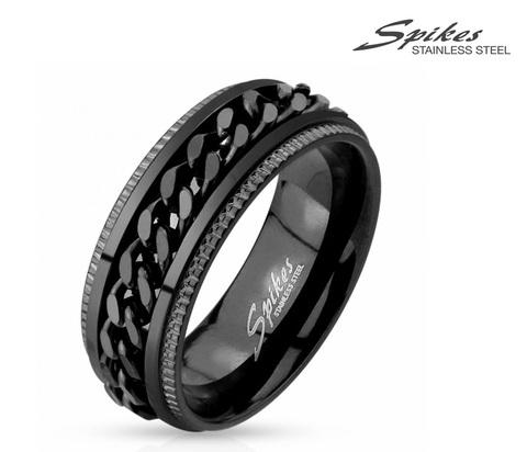 R-M4397-8 Мужское кольцо черного цвета с вращающейся вставкой - цепью,