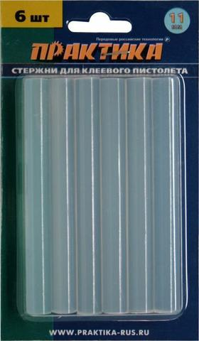 Клей для клеевого пистолета ПРАКТИКА белый, прозрачный, 11 х 100 мм, 6шт / блистер