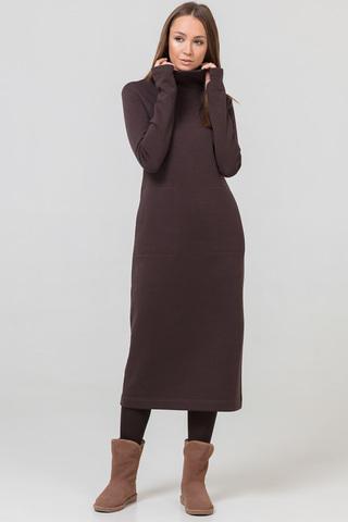Платье длинное с начесом коричневое