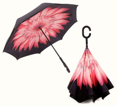 Купить онлайн Обратный зонт ReU Pink Aster (арт.RU-7) в магазине Зонтофф.