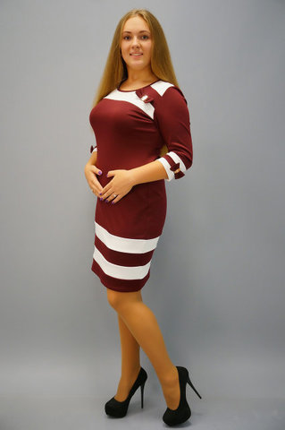 Шанель. Сукня для жінок с пишною фігурою. Бордо+білий.