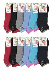 W46 носки женские, цветные 36-42 (12шт)