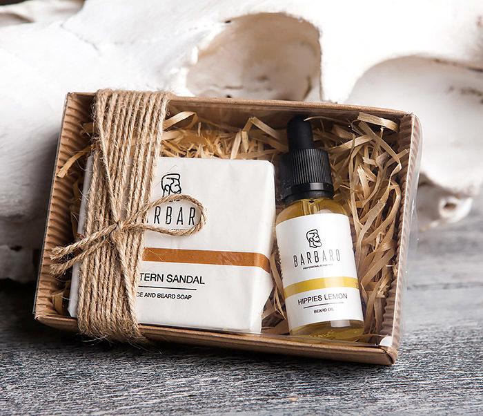 RAZ1015-3 Мужской подарочный набор «Barbaro»: масло и твердое мыло для лица и бороды
