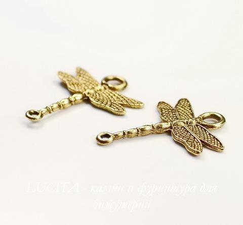 "Коннектор Quest Beads ""Стрекоза"" (1-1) 29х25 мм (цвет - античное золото)"