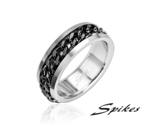 Стальное мужское кольцо «Spikes» с цепью черного цвета