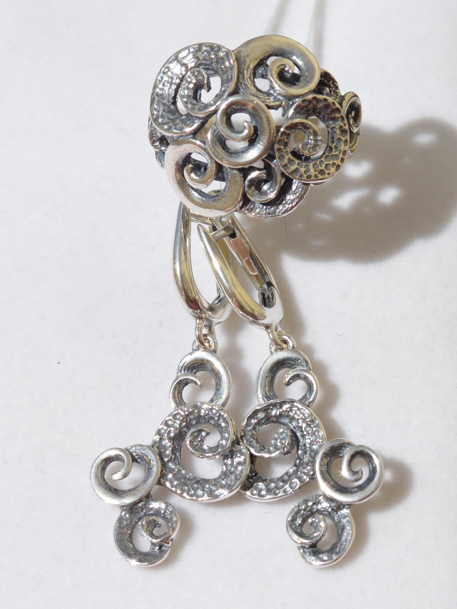 Эол (кольцо + серьги из серебра)
