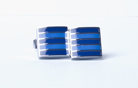 Запонки Lorendi Capri белого металла квадратные сине-голубые полоски