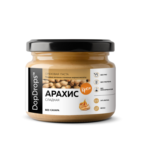 3=4 Арахисовая Паста сладкая без сахара 1000гр DopDrops (фирменный помол)