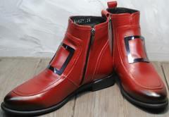 Женские классические ботинки красные осень Evromoda 1481547 S.A.-Red