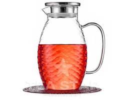 Кувшин 1500 мл стеклянный для воды, холодных и горячих напитков