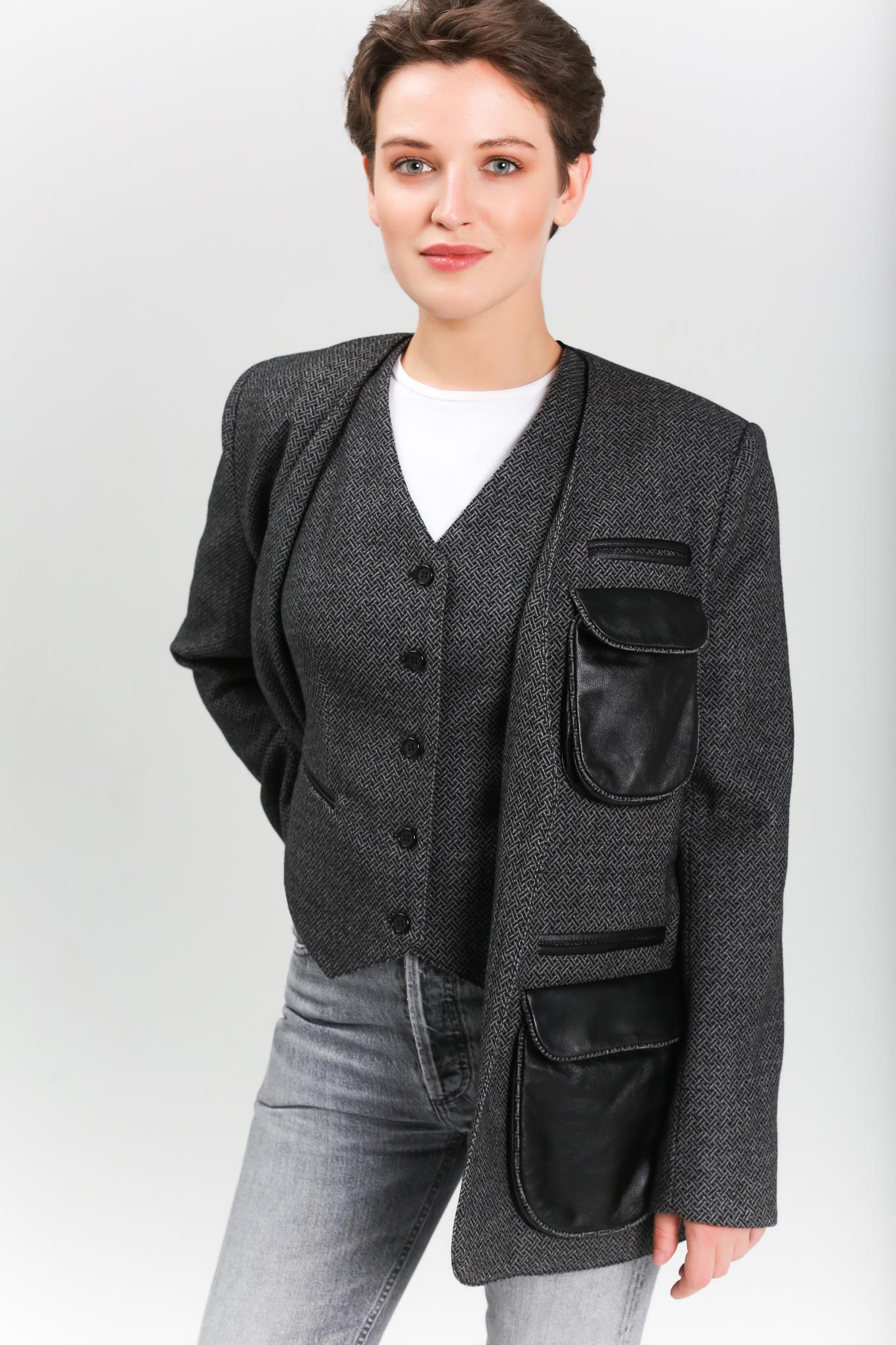 Жакет с кожаными вставками (FW0380)