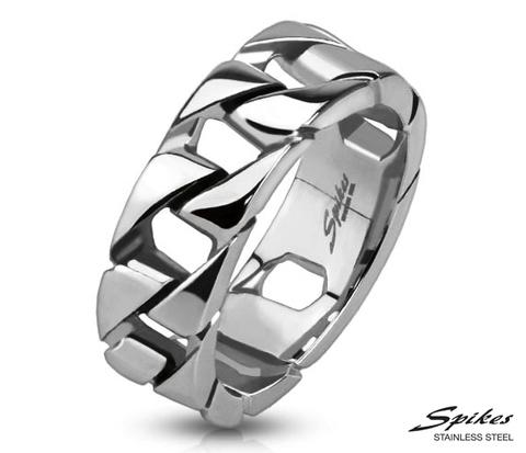 R-Q9014 Мужское кольцо цепь из стали, «Spikes»