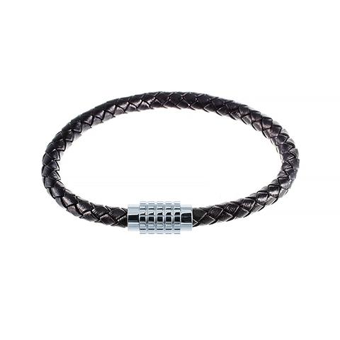 Стильный модный плетёный чёрный кожаный браслет со стальной магнитной застёжкой JV 392-0005 в подарочной упаковке