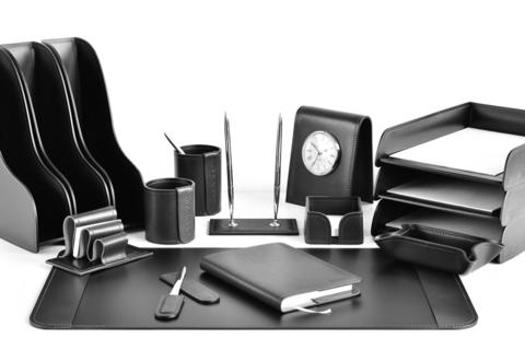 Набор в кабинет руководителя Премиум 16 предметов из кожи FG Black/черный
