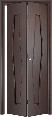 Дверь складная Верда С-10 (2 полотна), цвет венге, глухая