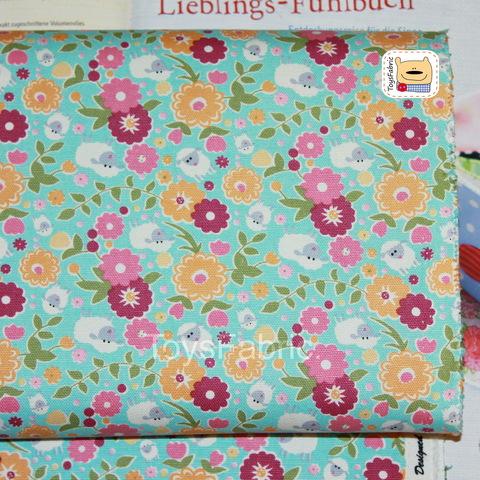 Хлопок Оксфорд 34043 Овечки и цветы на бирюзовом