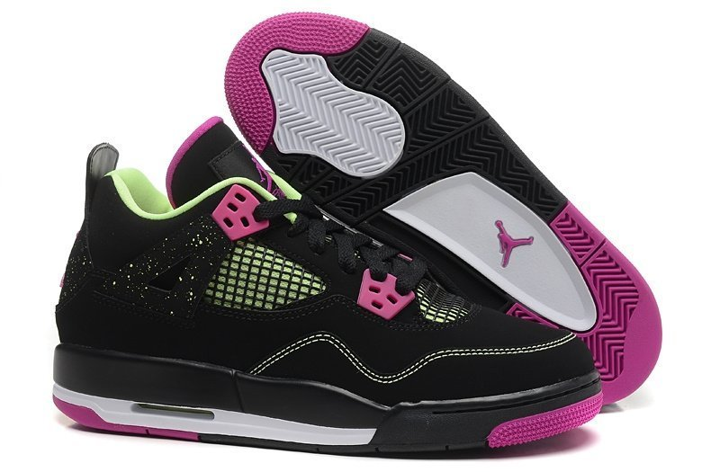Nike Air Jordan 4 Retro Жен (Black/Fuschia Force/Flash Lime) (015)
