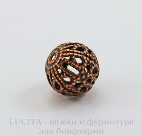 Винтажный элемент - бусина шарик филигрань 10 мм (оксид меди)