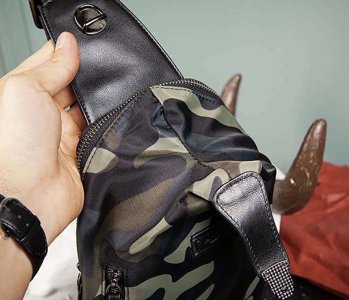 BAG489-3 Тканевая мужская сумка «банан» с одной лямкой фото 07