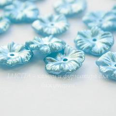Бусина акриловая Цветочек голубой 17х4 мм