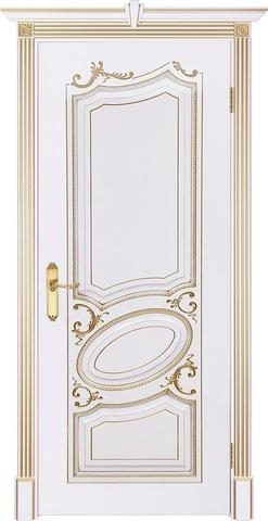 Дверь Prestigio Саффи, цвет  белый/патина золото, глухая