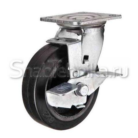 Большегрузная поворотная колесная опора с тормозом SCdb 100 литая черная резина