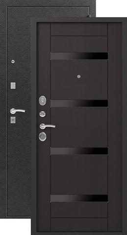 Дверь входная Сибирь S-5, 2 замка, 1,5 мм  металл, (чёрный шёлк+венге)