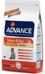 Корм для кошек с чувствительным пищеварением, Advance Adult Salmon Sensitive, с лососем и рисом