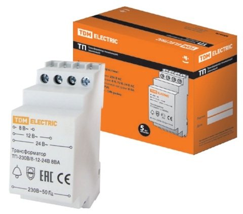 Трансформатор понижающий ТП-230В/8-12-24В 8ВА DIN-рейка TDM