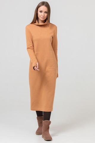 Платье длинное с начесом бежевое