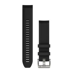 Силиконовый ремешок QuickFit 22 для Garmin MARQ (черный, серебристая застежка) 010-12738-05