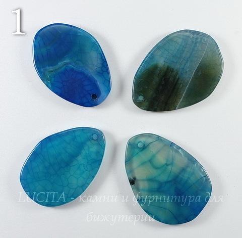 Подвеска Агат (тониров), цвет - синий (№1 (31-36 мм))