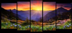 """Модульная картина """"Лучи рассветного солнца в горах"""""""