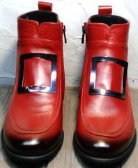 Женские ботильоны из натуральной кожи на низком каблуке осень Evromoda 1481547 S.A.-Red