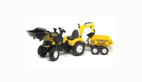 Трактор-экскаватор педальный с прицепом Yellow Power Loader 100W