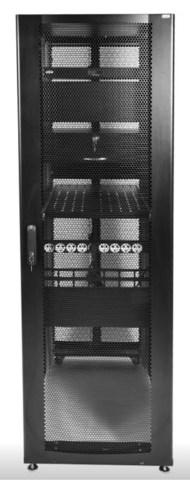 Шкаф ЦМО серверный ПРОФ напольный 42U (600 × 1000) дверь перф. 2 шт., черный, в сборе