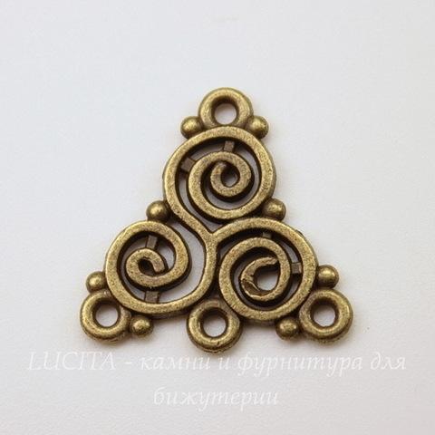 """Коннектор """"Кельтский"""" (1-3) 19х19 мм (цвет - античная бронза)"""