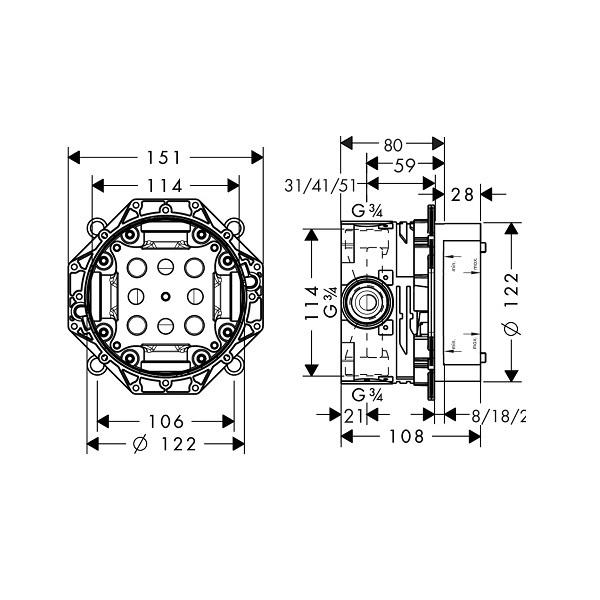 Встраиваемая часть смесителя/термостата/душа верхнего iBox universal Hansgrohe   01800180