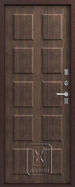 Стальная дверь Зевс Т-2 терморазрыв, Антик медь/Тиковое дерево