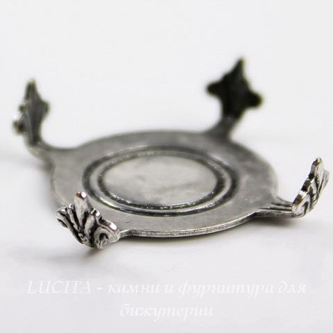 """Сеттинг - основа """"Черепашка"""" для камеи или кабошона 18 мм (оксид серебра)"""