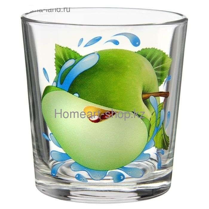 Стакан, яблоко зеленое, стеклянный, 6 х 6.